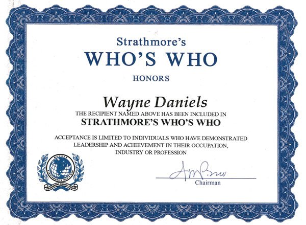 Award For H2o Strathmore's Who's Who